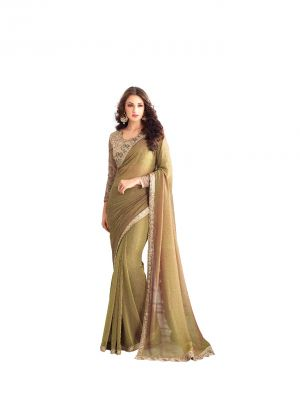 Buy De Marca Mehndi Green Two Tone Georgette Saree (code - De Marca Bf616) online