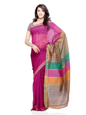 Buy De Marca Cotton Purple Saree For Womens - (code -df-186f) online