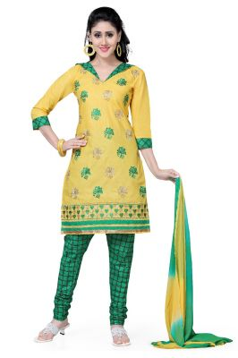 Buy De Marca Cotton Yellow And Green Semi Stitched Salwar Kameez (code - Dm-102) online