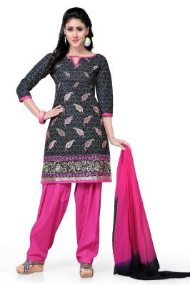 Buy De Marca Cotton Black And Pink Semi Stitched Salwar Kameez online