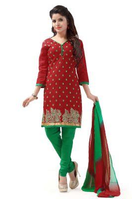 Buy De Marca Cotton Red And Green Semi Stitched Salwar Kameez (code - Dm-116) online