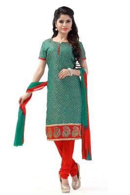 Buy De Marca Brocade Rama Green And Red Semi Stitched Salwar Kameez (code - Dm-130) online