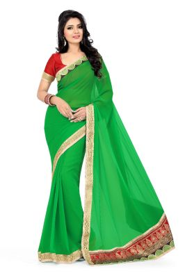Buy De Marca Faux Georgette Green Saree online