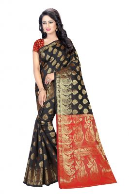 Buy De Marca Black Banarasi Silk Saree online