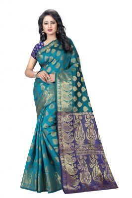 Buy De Marca Green Banarasi Silk Saree online