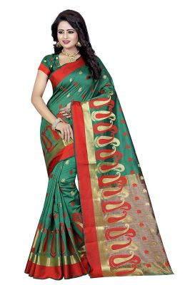 Buy De Marca Green Poly Cotton Saree online