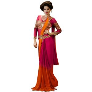 Buy De Marca Womens Pink-orange Satin And Chiffon Designer Saree online