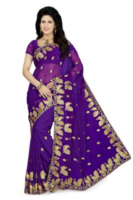 Buy De Marca Purple Colour Faux Georgette Saree (product Code - K-5172) online