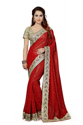 Buy De Marca Red Colour Faux Georgette Saree (product Code - K-5187) online