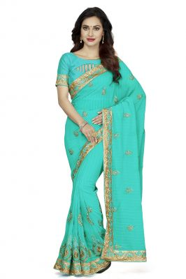 Buy De Marca Sea Green Faux Chiffon Saree (code - De Marca K-5196) online
