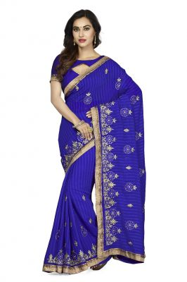 Buy De Marca Royal Blue Faux Chiffon Saree (code - De Marca K-5197) online