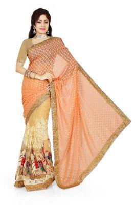 Buy De Marca Orange, Beige Brasso, Net Saree (product Code - M1326) online