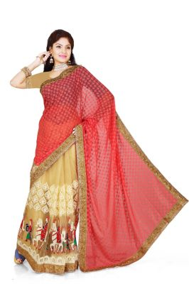 Buy De Marca Red, Beige  Brasso, Net Saree online