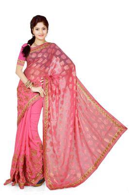 Buy De Marca Pink Brasso, Georgette Saree (product Code - M1334) online