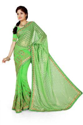 Buy De Marca Green Brasso, Georgette Saree (product Code - M1343) online