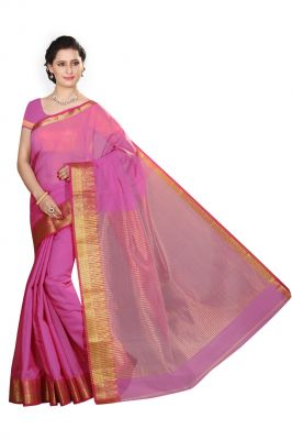 Buy De Marca Pink Cotton Silk Saree online