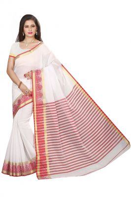 Buy De Marca Off White Cotton Silk Saree online
