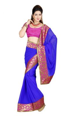 Buy De Marca Blue Colour Faux Chiffon Saree online