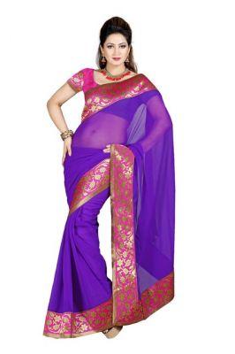 Buy De Marca Purple Color Faux Chiffon Saree online