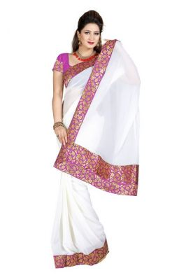 Buy De Marca Faux Chiffon White Colour Saree online