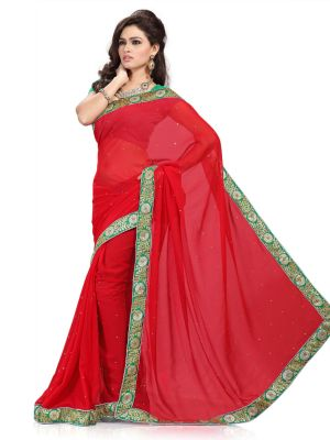 Buy De Marca Red Faux Chiffon Saree online