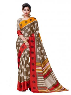 Buy De Marca Brown - Red - Orange Kanchipuram Silk Saree (product Code - Mok5706b) online