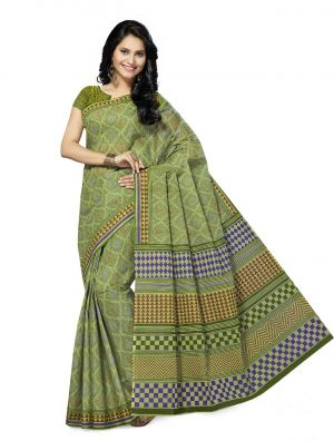 Buy De Marca Green Cotton Saree (product Code - Mon60003) online
