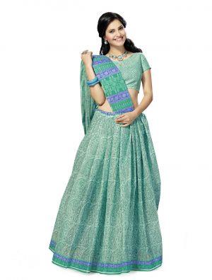 Buy De Marca Green Cotton Saree (product Code - Mon60015) online