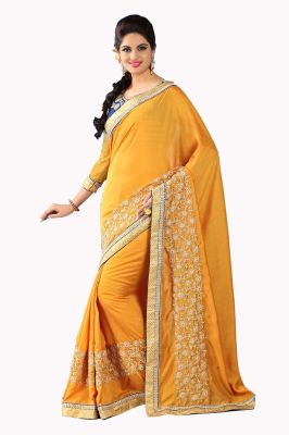 Buy De Marca Cotton And Silk Golden Orange Saree (code - Nh8004) online