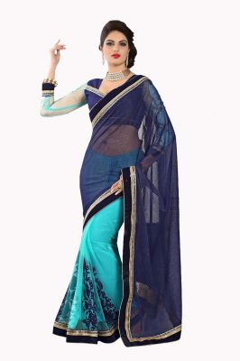 Buy De Marca Fancy Net Blue And Firozi Saree online