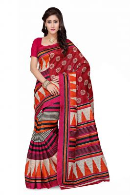 Buy De Marca Red - Orange Art Silk Saree (product Code - P-18) online