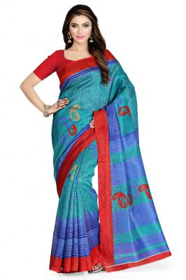 Buy De Marca Sea Green - Blue - Red Art Silk Saree (product Code - P-33) online