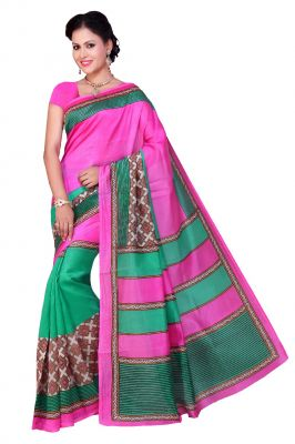 Buy De Marca Pink - Green Art Silk Saree (product Code - P-9) online