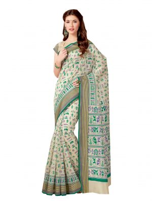 Buy De Marca Beige-green Colour Tussar Silk Saree online