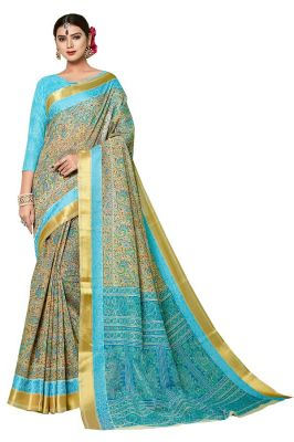 Buy De Marca Blue - Brown Gadwal Silk Saree (code - De Marca Sb-1603) online