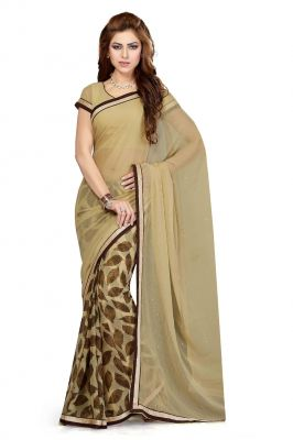 Buy De Marca Chikoo Colour Faux Chiffon Saree (product Code - Ss4112) online