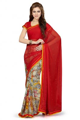 Buy De Marca Red Colour Faux Chiffon Saree (product Code - Ss4116) online
