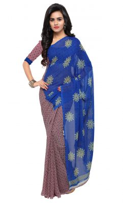 Buy De Marca Blue-maroon Colour Faux Georgette Saree (product Code - Tsand1199b) online