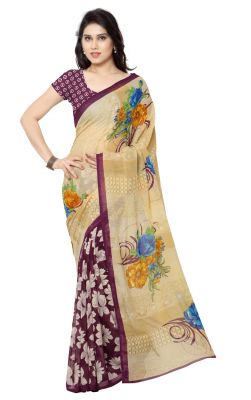 Buy De Marca Beige-purple Colour Faux Georgette Half N Half Saree (product Code - Tsand2942b) online