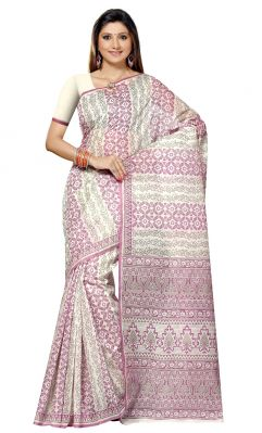 Buy De Marca Grey-pink Colour Cotton Blend Saree (product Code - Tsmrccan1012) online