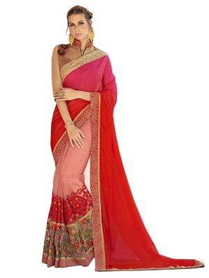 Buy De Marca Peach-red Colour Satin-net Saree (product Code - Tsn1807) online