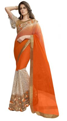Buy De Marca Orange Colour Chiffon Saree (product Code - Tsn97068) online