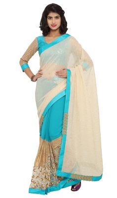 Buy De Marca Green-cream Colour Chiffon Half N Half Saree (product Code - Tsnjw97034) online