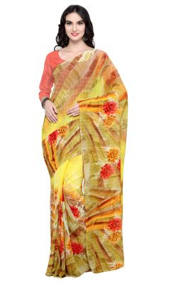 Buy De Marca Yellow Colour Faux Georgette Saree (product Code - Tsnsh106) online