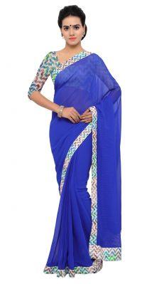 Buy De Marca Blue Colour Chiffon Saree (product Code - Tsnsn1003) online