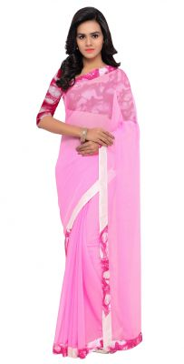 Buy De Marca Pink Colour Chiffon Saree (product Code - Tsnsn1004) online