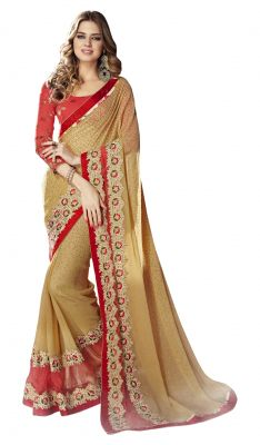 Buy De Marca Beige-red Colour Faux Georgette Saree (product Code - Tsnst7008) online