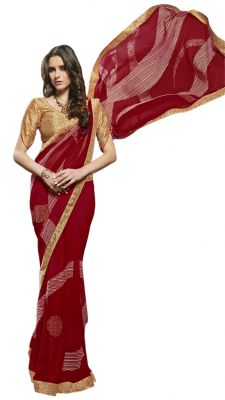 Buy De Marca Red Colour Faux Georgette Saree (product Code - Tsnsy31030) online
