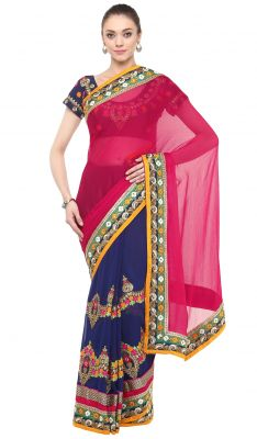 Buy De Marca Blue-pink Colour Faux Georgette Half N Half Saree (product Code - Tssf9407c) online