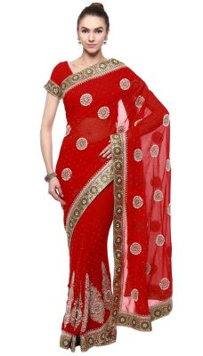 Buy De Marca Red Colour Faux Georgette Saree (product Code - Tssf9421d) online